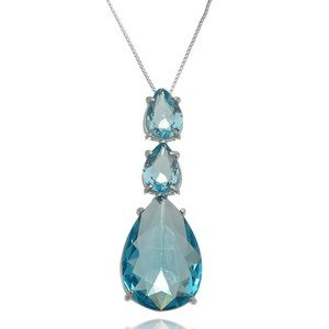 Triple Crystal Blue Necklace